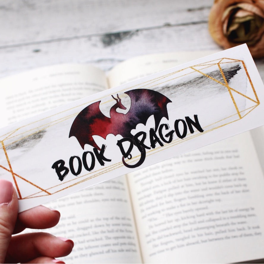Bookmark, Book Dragon, watercolor bookmark.