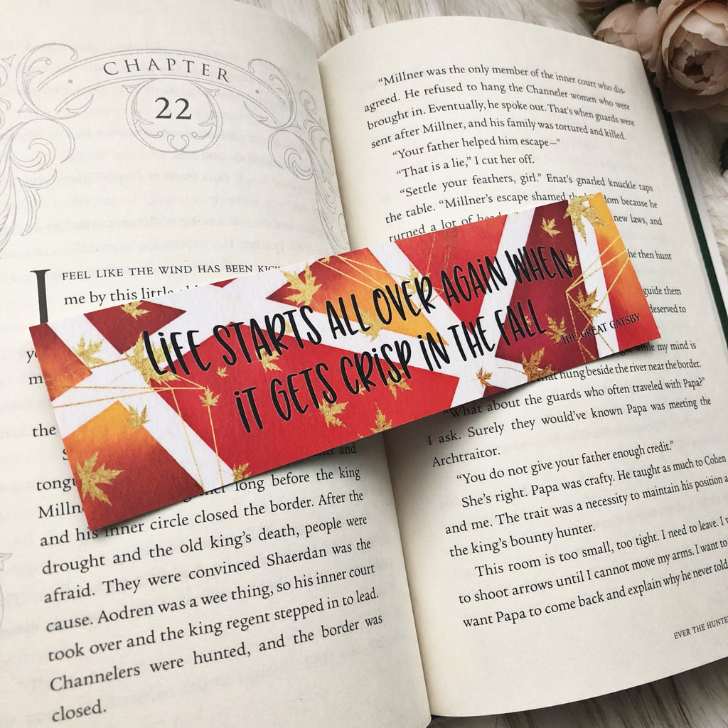 Bookmark, Gatsby fall quote, watercolor bookmark.