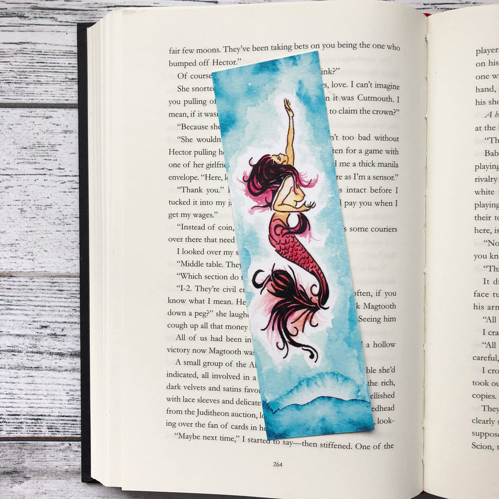 Bookmark, To Kill A Kingdom, Mermaid, Siren, Watercolor Bookmark.