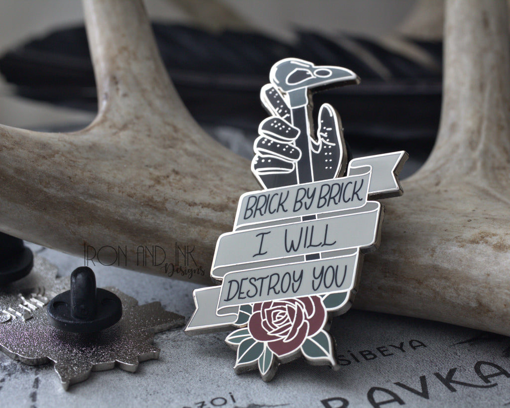 Brick by Brick quote, Enamel Pin, Bookish enamel pin.
