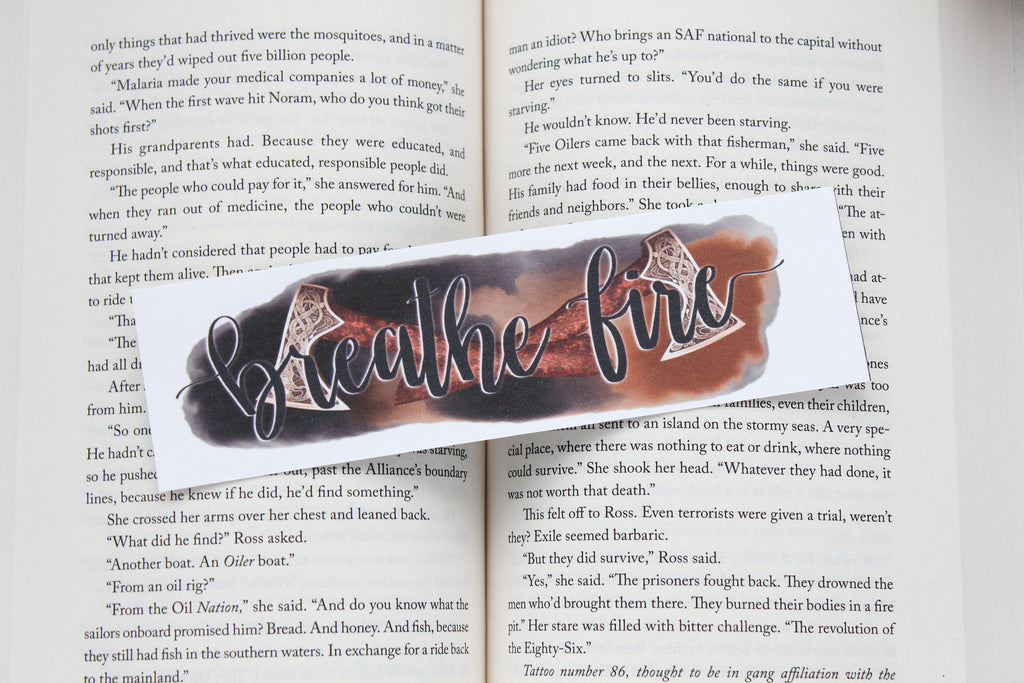 Bookmark, Breathe Fire, Watercolor Bookmark.