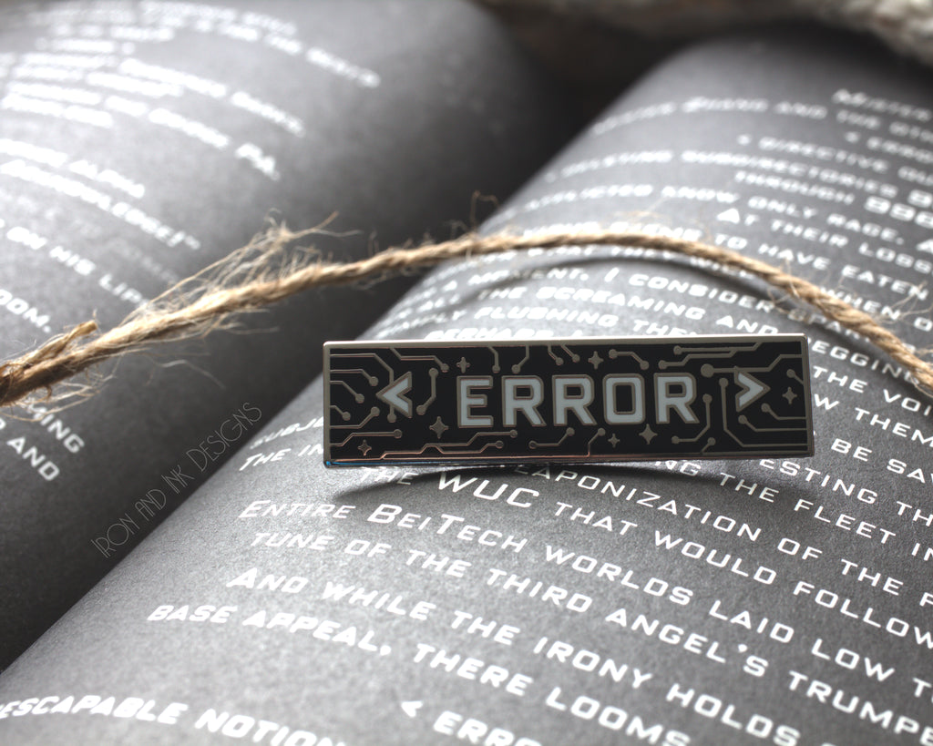 Error Black & White Enamel Pin