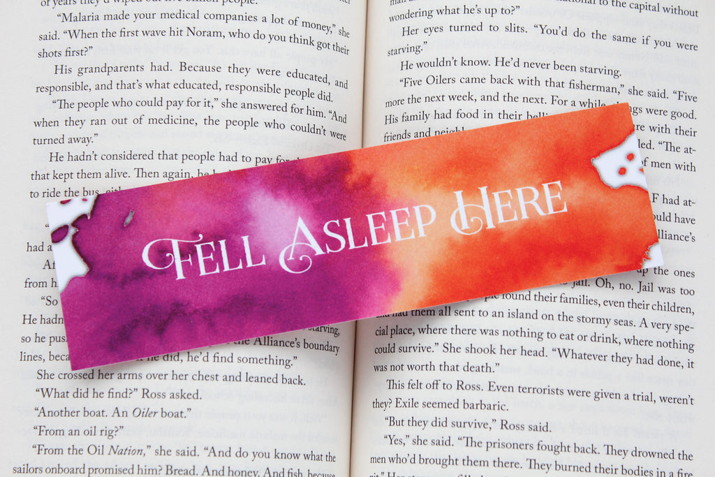 Bookmark, Fell Asleep Here, Watercolor Bookmark.