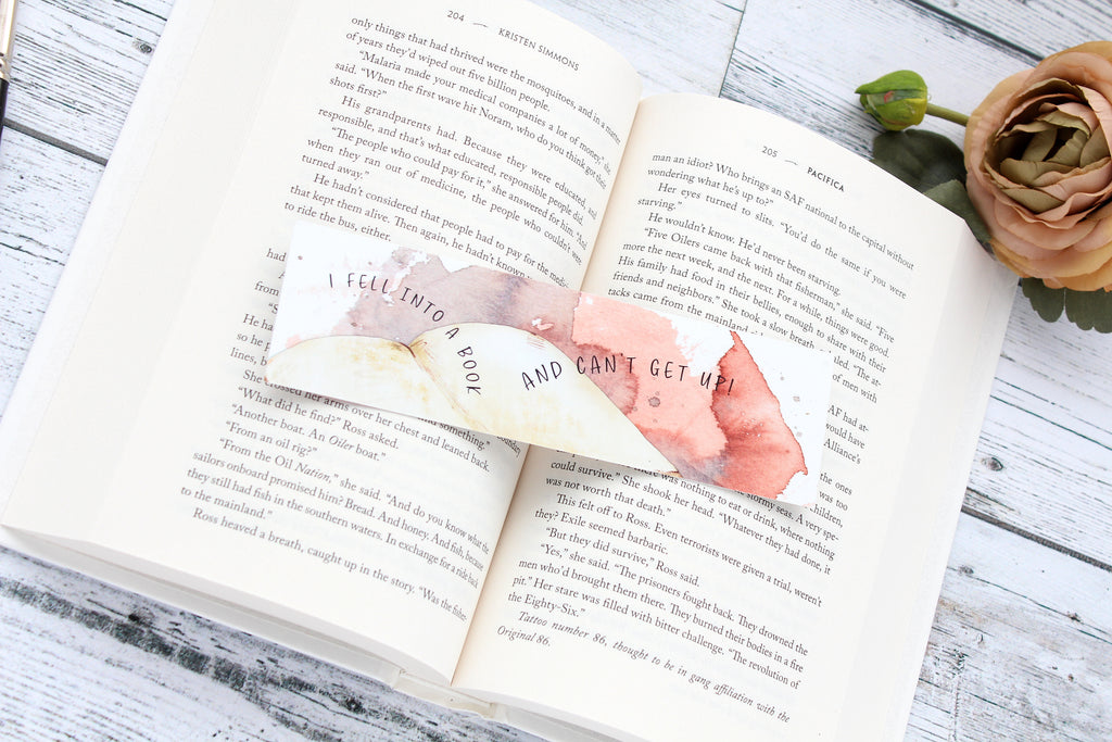 Bookmark, Fell into a Book, watercolor bookmark.