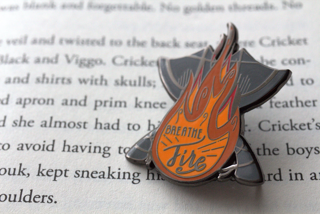 Breathe Fire, viking enamel pin.