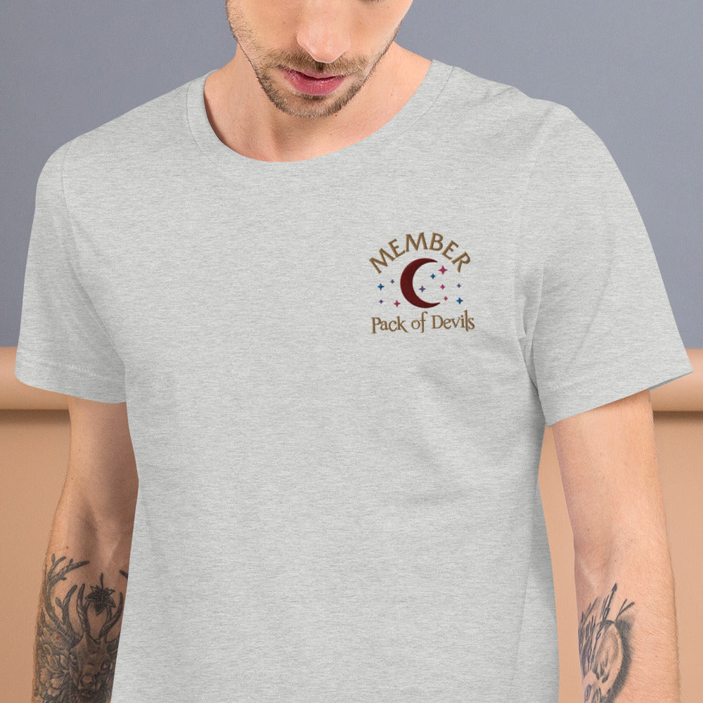 Member of the Pack of Devils Embroidered Short-Sleeve Unisex T-Shirt