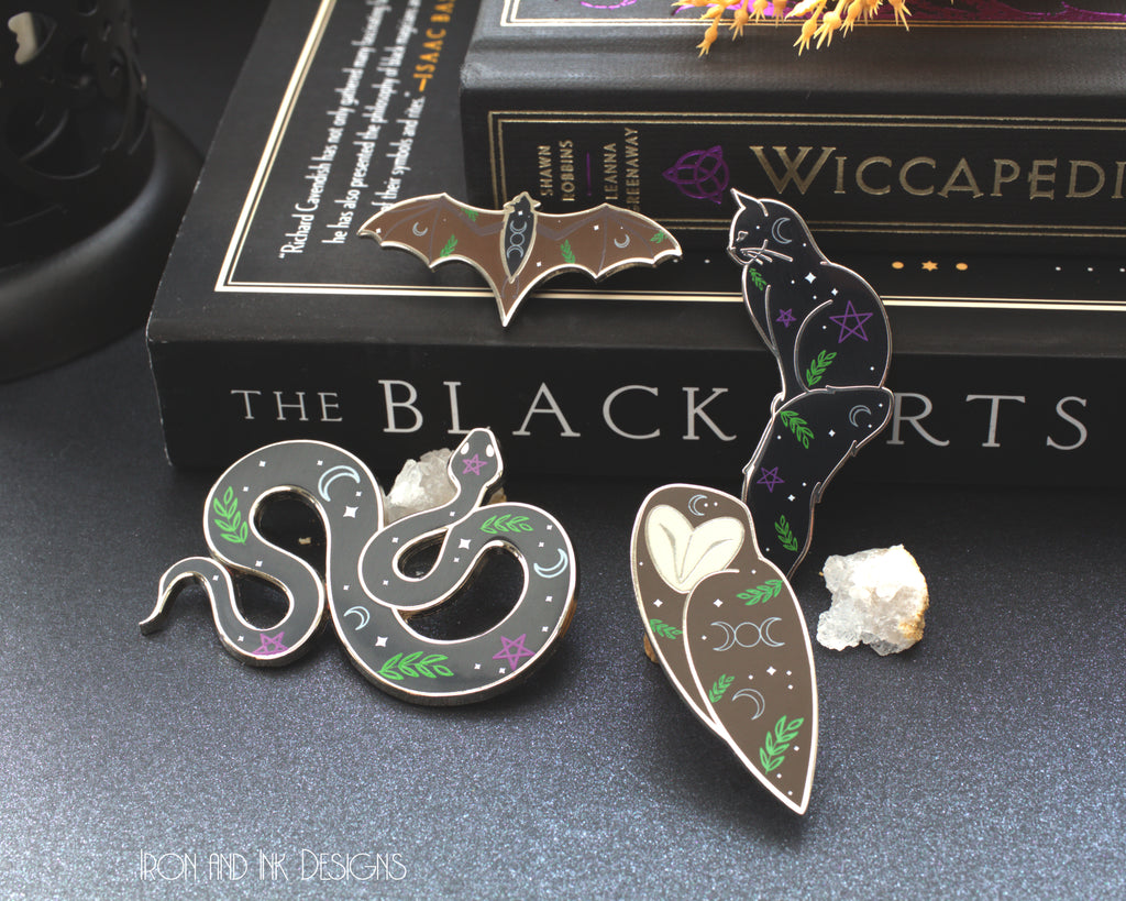 Witches Familiar Halloween enamel pins. (SINGLE PIN OPTION)