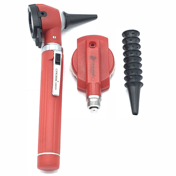 FIBER OPTIC LED POCKET OTOSCOPE & OPHTHALMOSCOPE DIAGNOSTIC SET - RED