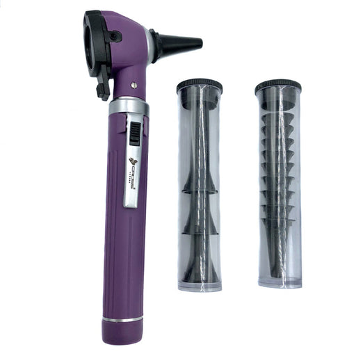 FIBER OPTIC LED POCKET OTOSCOPE DIAGNOSTIC SET - PURPLE