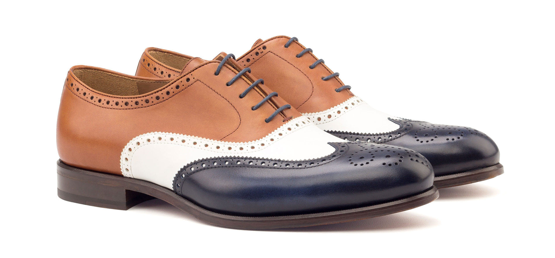 Navy Blue Tan Brown White Leather Formal Oxford Wingtip Brogue Lace Up Shoes for Men with Leather Sole. Goodyear Welted Construction Available.