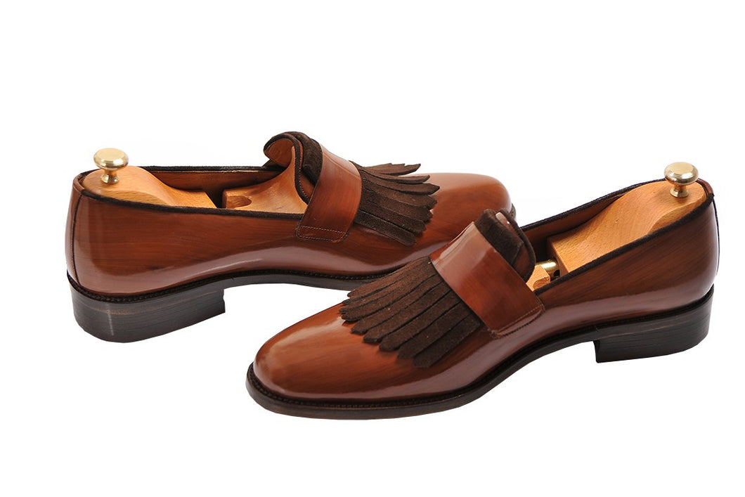 Tan Brown Leather Suede Formal Frill Penny Loafer Slip On Shoes for Men with Leather Sole. Goodyear Welted Construction Available.
