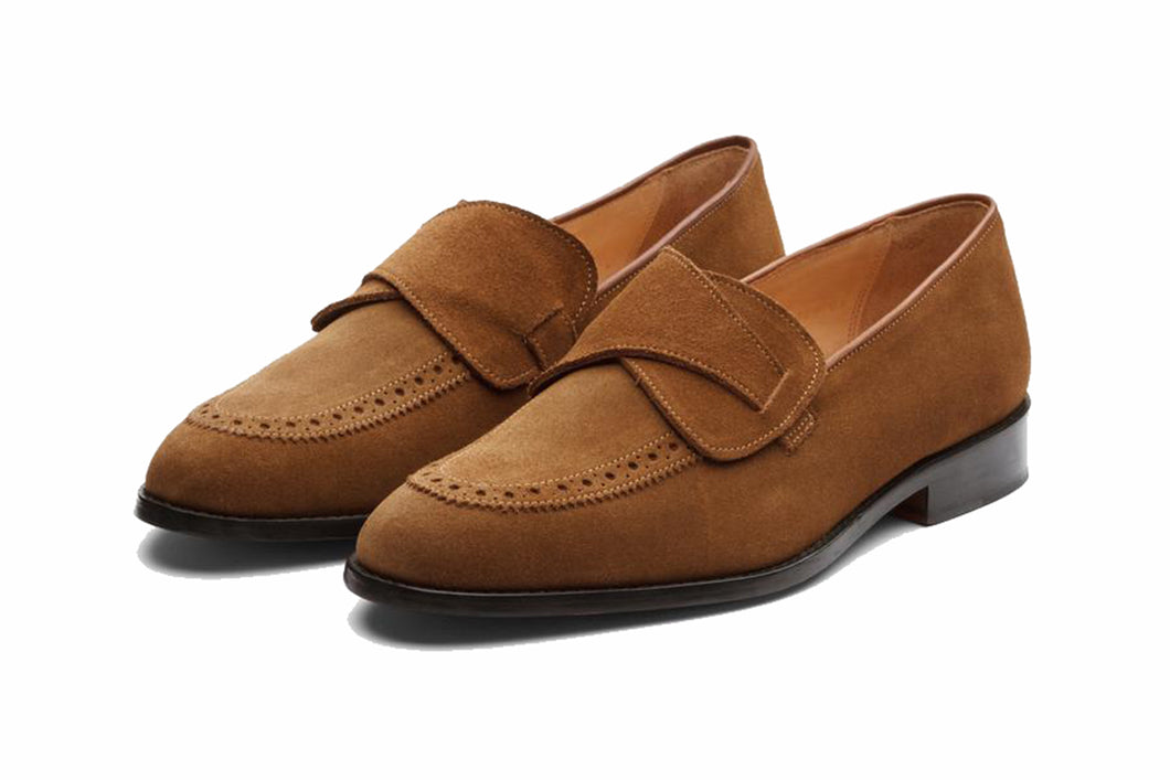 Tan Leather Suede Formal Penny Loafer Slip On Shoes for Men with Leather Sole. Goodyear Welted Construction Available.