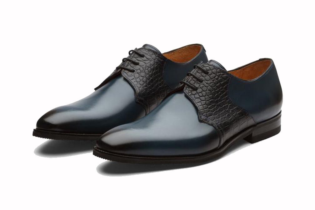 Navy Blue Black Croco Print Exotic Skin Leather Formal Derby Lace Up Shoes for Men with Leather Sole. Goodyear Welted Construction Available.