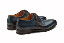 Load image into Gallery viewer, Navy Blue Black Croco Print Exotic Skin Leather Formal Derby Lace Up Shoes for Men with Leather Sole. Goodyear Welted Construction Available.