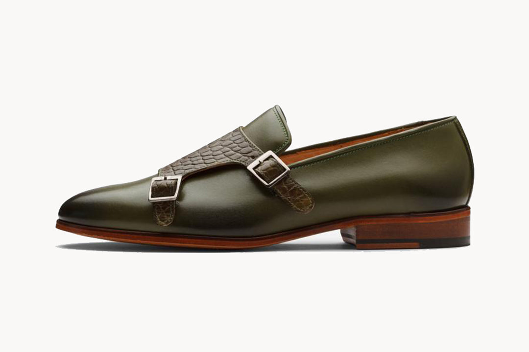 Olive Green Brown Croco Print Leather Formal Monk Strap Loafer Slip On Shoes for Men with Leather Sole. Goodyear Welted Construction Available.