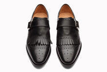 Load image into Gallery viewer, Black Leather Formal Brogue Frill Single Monk Strap Buckle Shoes for Men with Leather Sole. Goodyear Welted Construction Available.