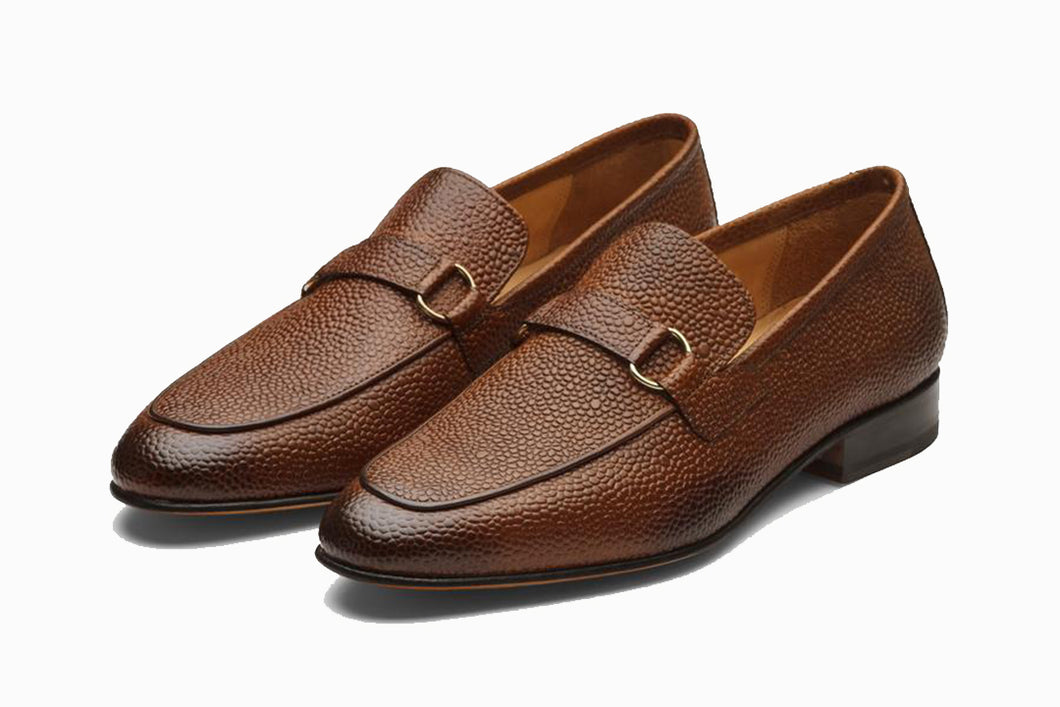 Tan Leather Formal Penny Loafer Slip On Textured Shoes for Men with Leather Sole. Goodyear Welted Construction Available.