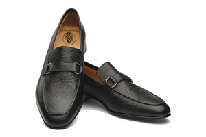 Black Leather Formal Penny Loafer Slip On Textured Shoes for Men with Leather Sole. Goodyear Welted Construction Available.