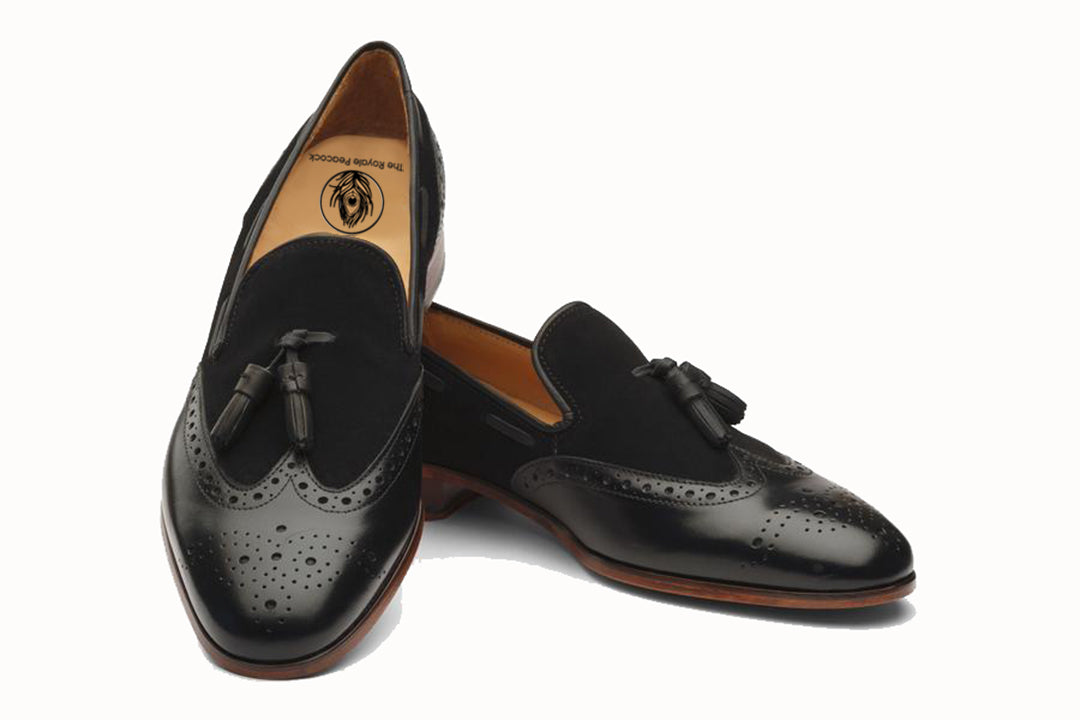 Black Leather Suede Wingtip Formal Tassel Loafer Slip On Shoes for Men with Leather Sole. Goodyear Welted Construction Available.