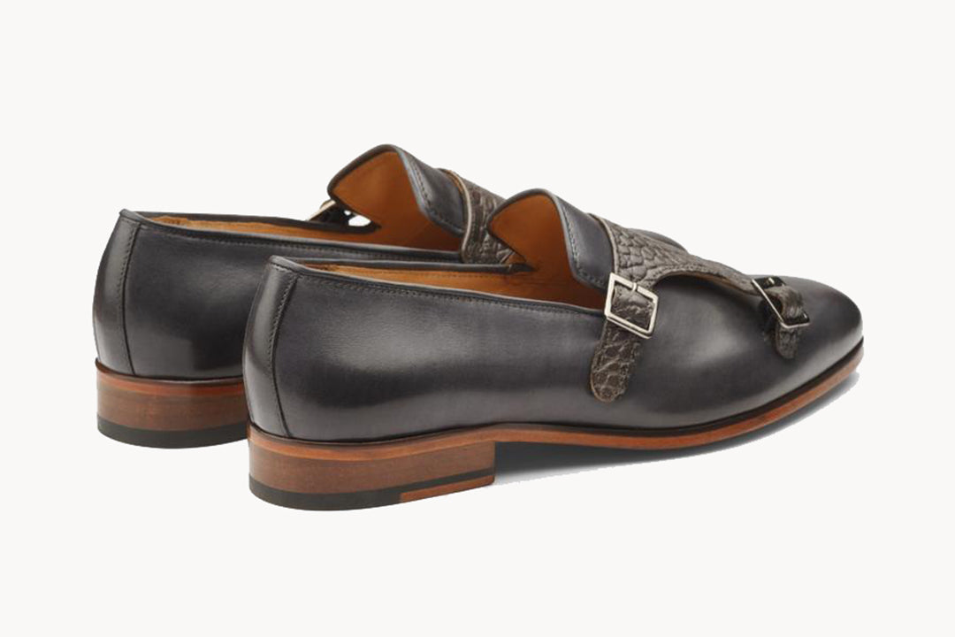 Grey Croco Print Leather Formal Monk Strap Loafer Slip On Shoes for Men with Leather Sole. Goodyear Welted Construction Available.