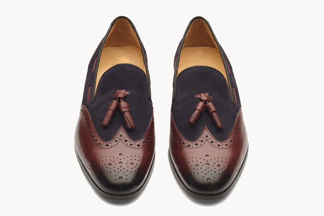 Brown Leather Navy Blue Suede Wingtip Formal Tassel Loafer Slip On Shoes for Men with Leather Sole. Goodyear Welted Construction Available.