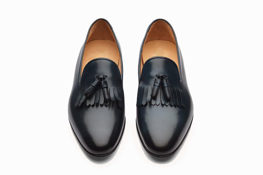 Blue Grey Leather Formal Tassel Loafer Slip On Shoes for Men with Leather Sole. Goodyear Welted Construction Available.