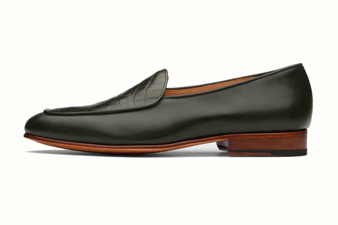 Olive Green Croco Print Leather Formal Loafer Slip On Shoes for Men with Leather Sole. Goodyear Welted Construction Available.