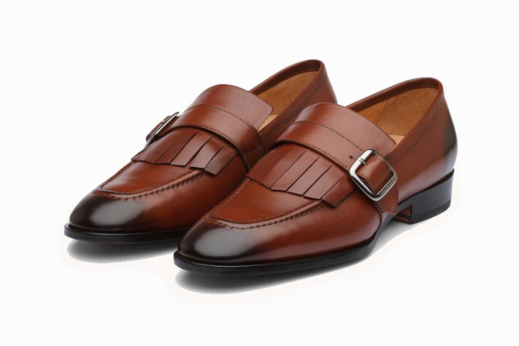 Tan Brown Leather Formal Frill Monk Strap Loafer Slip On Shoes for Men with Leather Sole. Goodyear Welted Construction Available.