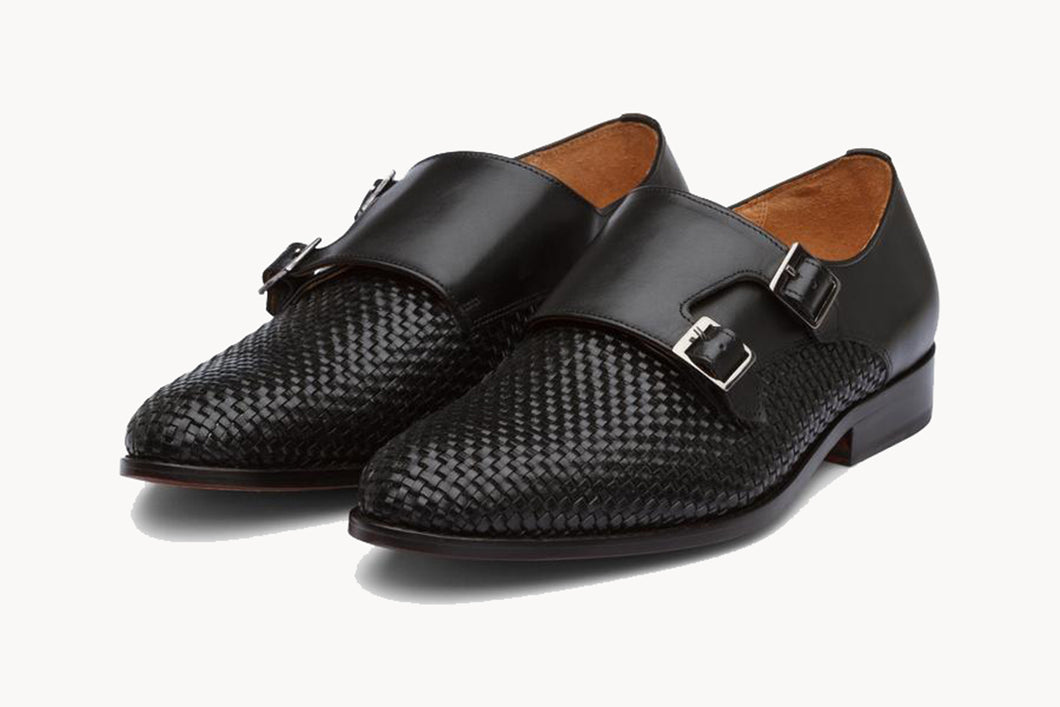 Black Braided Woven Leather Formal Double Monk Strap Buckle Shoes for Men with Leather Sole. Goodyear Welted Construction Available.