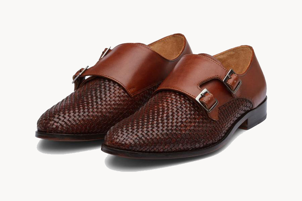 Tan Brown Braided Woven Leather Formal Double Monk Strap Buckle Shoes for Men with Leather Sole. Goodyear Welted Construction Available.