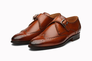 Tan Brown Leather Formal Wingtip Brogue Single Monk Strap Buckle Shoes for Men with Leather Sole. Goodyear Welted Construction Available.
