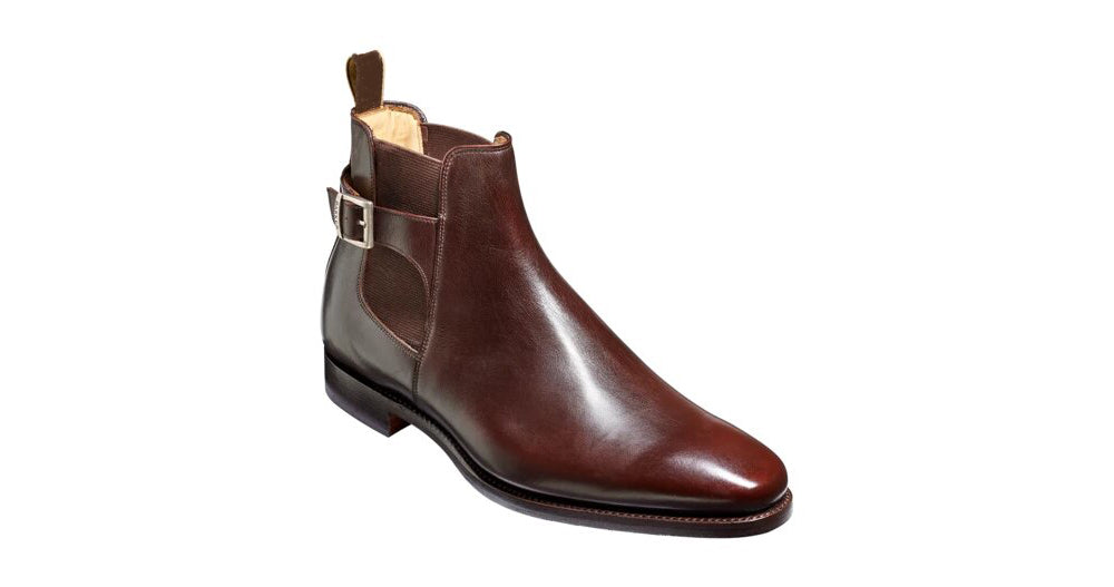 Brown Leather Formal Chelsea Boot Buckle Slip On Shoes for Men with Leather Sole. Goodyear Welted Construction Available.