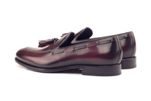 Load image into Gallery viewer, Burgundy Leather Patina Finish Formal Tassel Loafer Slip On Shoes for Men with Leather Sole. Goodyear Welted Construction Available.