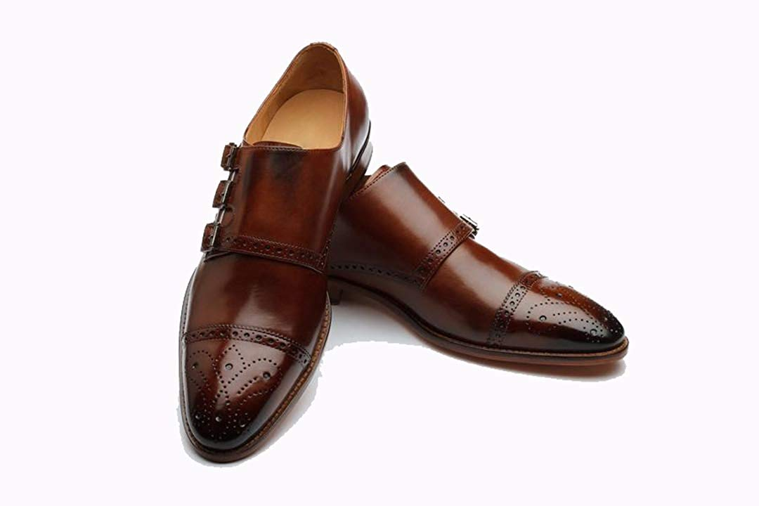 Tan Leather Formal Toe Cap Brogue Triple Monk Strap Buckle Shoes for Men with Leather Sole. Goodyear Welted Construction Available.