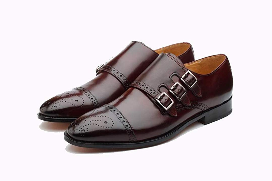 Purple Leather Formal Toe Cap Brogue Triple Monk Strap Buckle Shoes for Men with Leather Sole. Goodyear Welted Construction Available.