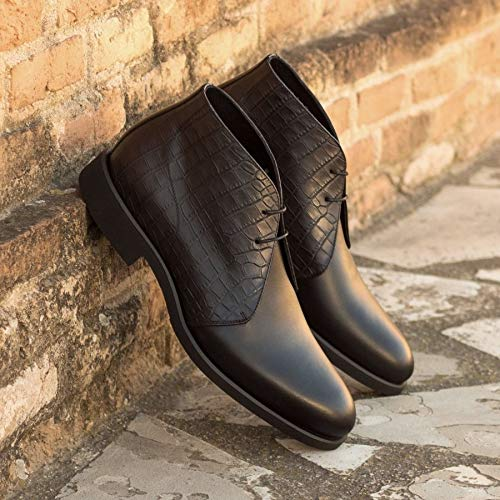 Black Croco Leather Formal Chukka Boot Lace Up Shoes for Men with Leather Sole. Goodyear Welted Construction Available.