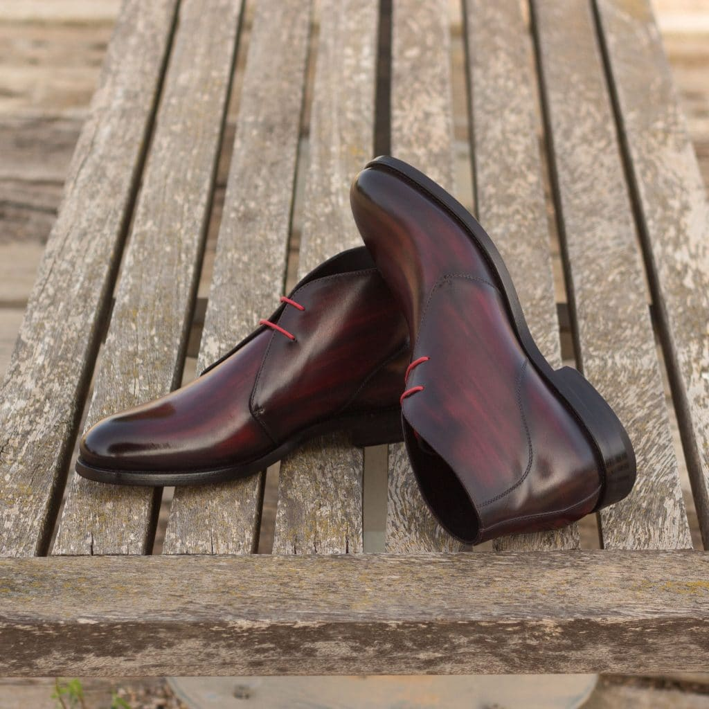 Burgundy Finish Leather Formal Chukka Boot Lace Up Shoes for Men with Leather Sole. Goodyear Welted Construction Available.