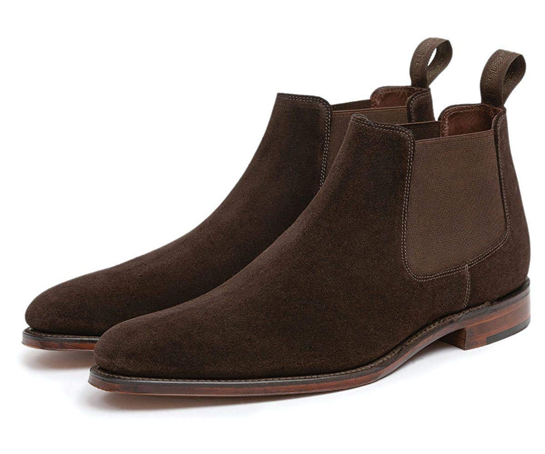 Dark Brown Suede Leather Formal Short Chelsea Slip On Boot Shoes for Men with Leather Sole. Goodyear Welted Construction Available.