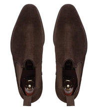 Load image into Gallery viewer, Dark Brown Suede Leather Formal Short Chelsea Slip On Boot Shoes for Men with Leather Sole. Goodyear Welted Construction Available.