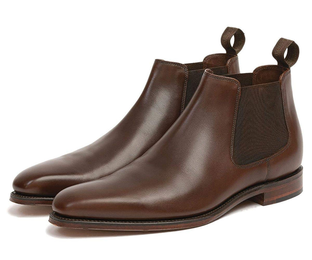 Brown Leather Formal Short Chelsea Slip On Boot Shoes for Men with Leather Sole. Goodyear Welted Construction Available.