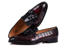 Load image into Gallery viewer, Burgundy Cherry Red Black Croco Print Leather Formal Frill Tassel Loafer Slip On Shoes for Men with Leather Sole. Goodyear Welted Construction Available.