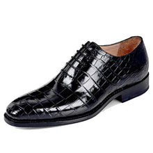 Load image into Gallery viewer, Black Croco Print Exotic Leather Formal Wholecut Oxford Lace Up Shoes for Men with Leather Sole. Goodyear Welted Construction Available.