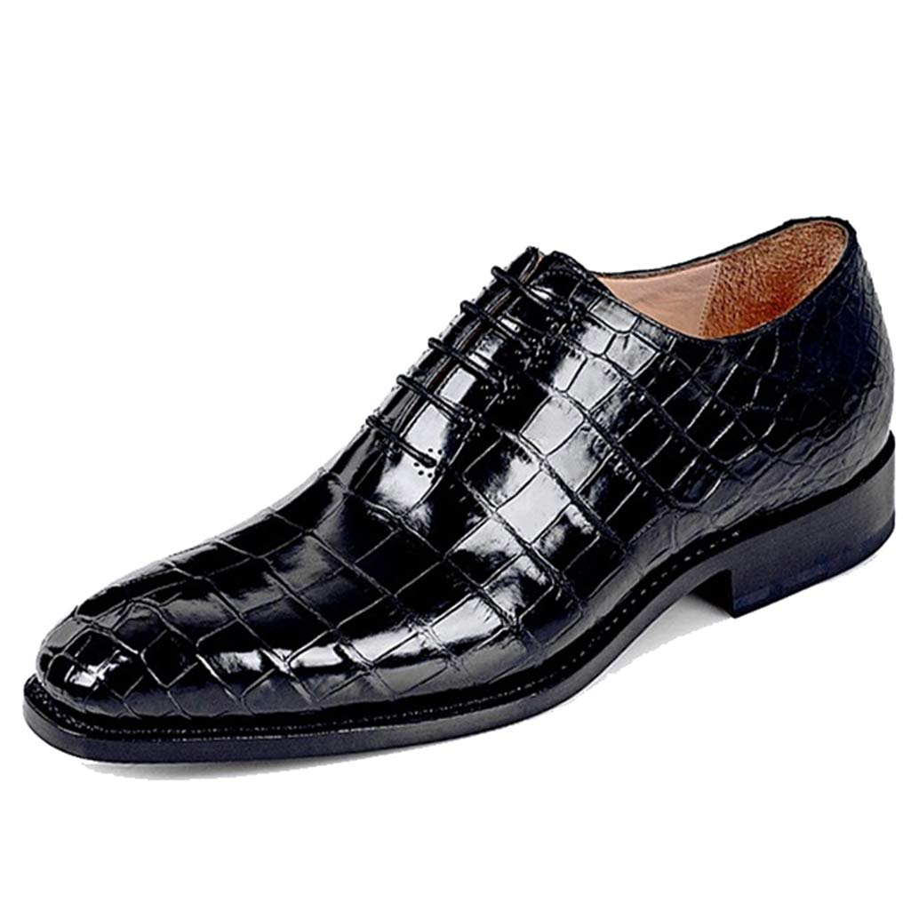 Black Croco Print Exotic Leather Formal Wholecut Oxford Lace Up Shoes for Men with Leather Sole. Goodyear Welted Construction Available.
