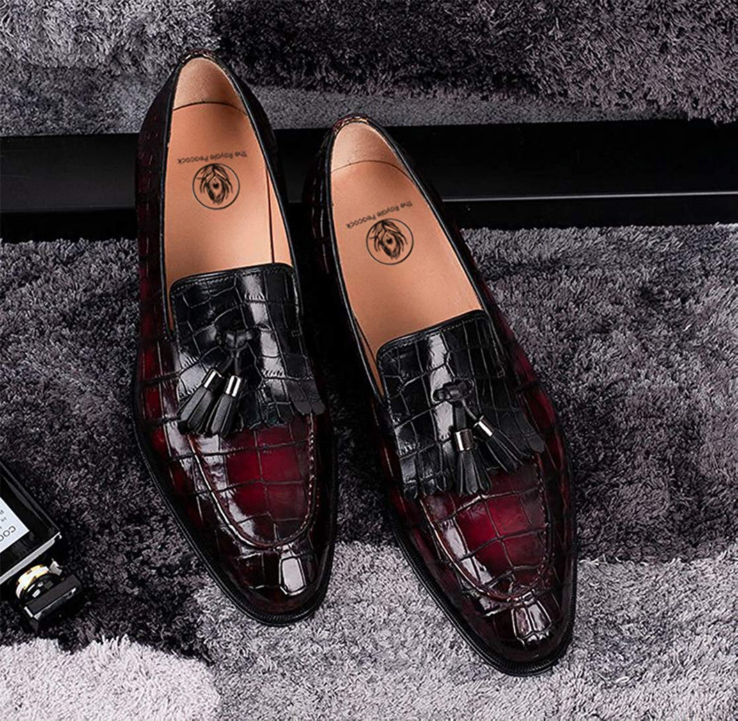 Burgundy Cherry Red Black Croco Print Leather Formal Frill Tassel Loafer Slip On Shoes for Men with Leather Sole. Goodyear Welted Construction Available.