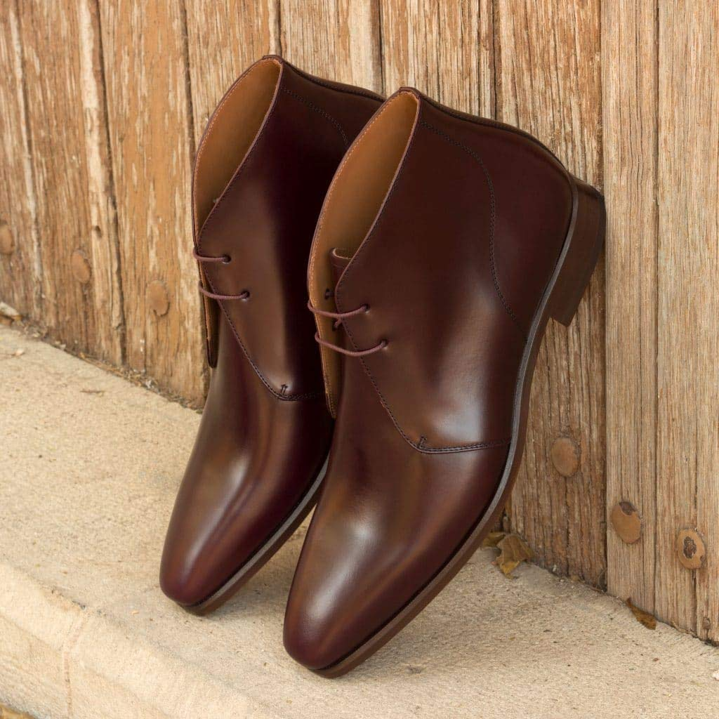 Dark Brown Leather Formal Chukka Boot Lace Up Shoes for Men with Leather Sole. Goodyear Welted Construction Available.