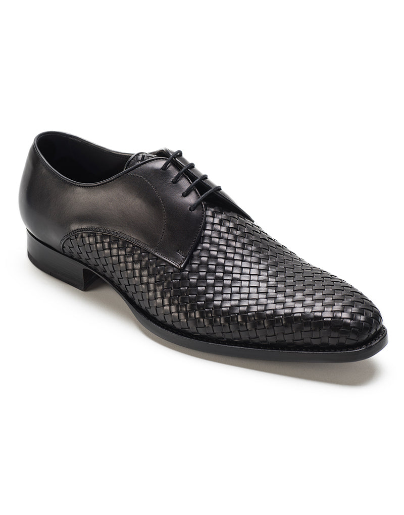Black Leather Braided Woven Formal Derby Lace Up Shoes for Men with Leather Sole. Goodyear Welted Construction Available.
