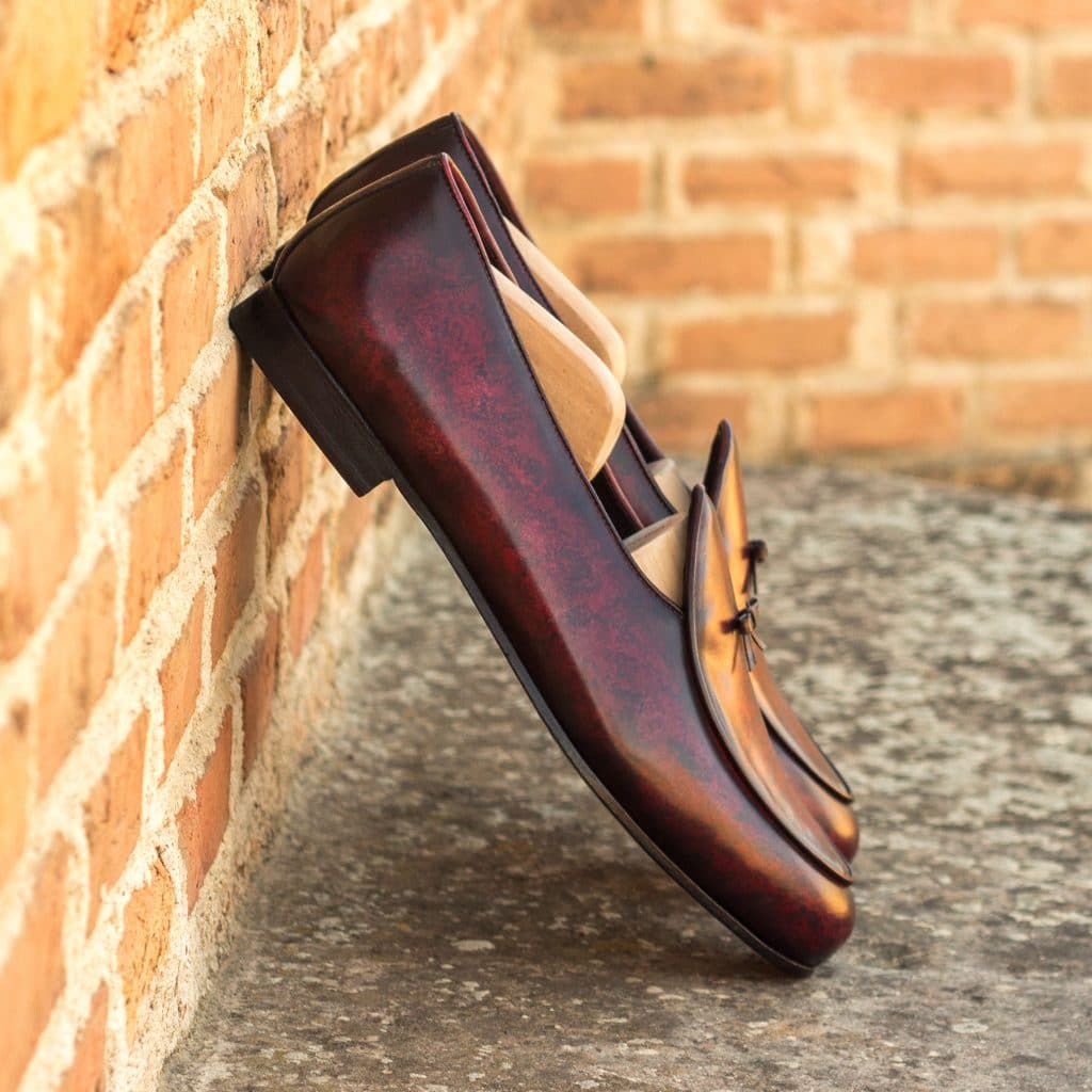 Burgundy Patina Finish Leather Formal Bow Loafer Belgian Slip On Shoes for Men with Leather Sole. Goodyear Welted Construction Available.