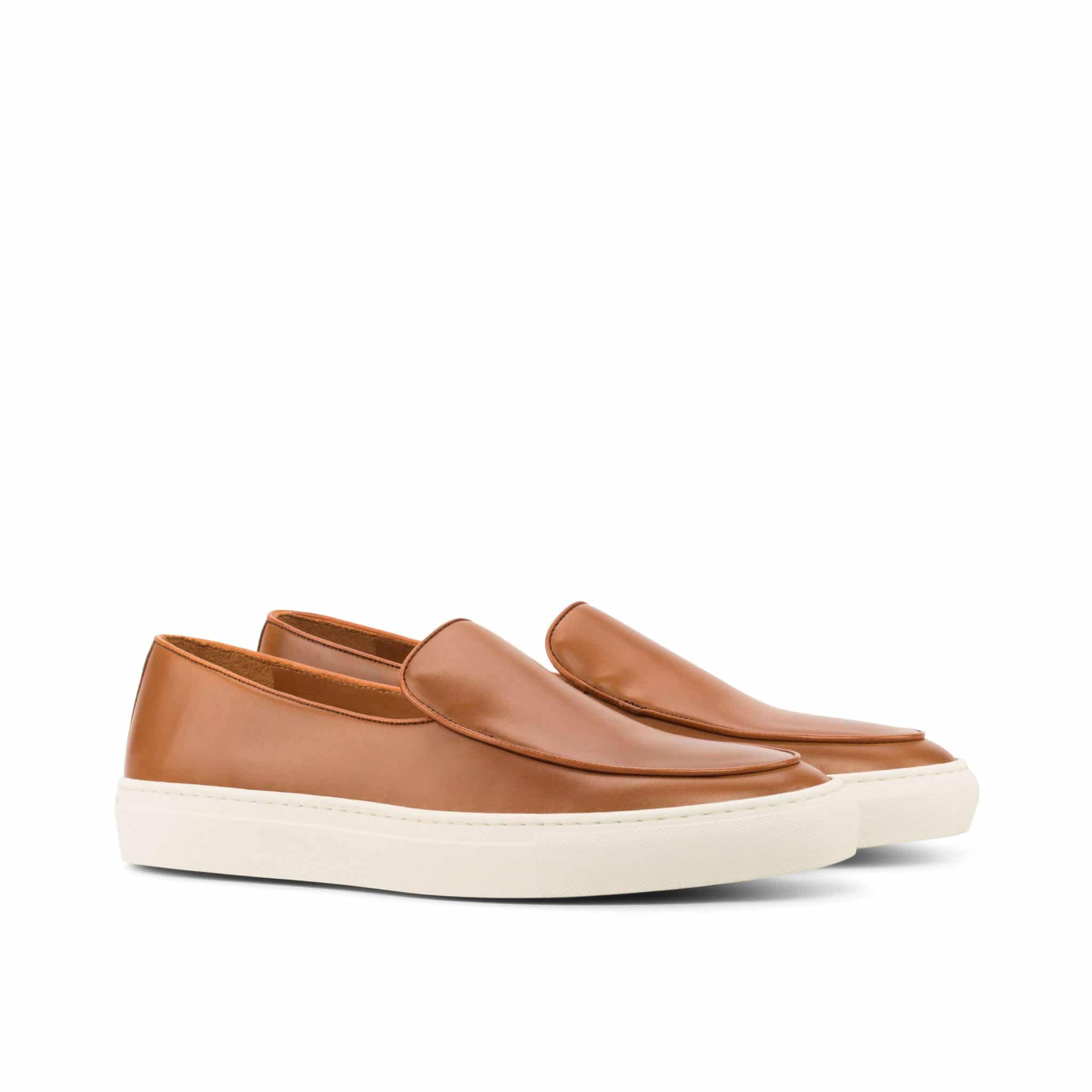 Tan Leather Slip On Loafer Sneaker for Men. White Comfortable Cup Sole.