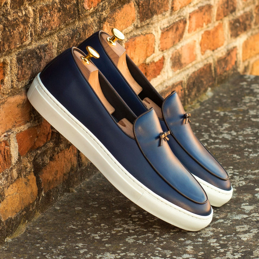 Navy Blue Patina Finish Leather Slip On Belgian Loafer Sneaker for Men. White Comfortable Cup Sole.