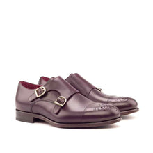 Load image into Gallery viewer, Damon Burgundy Toe Cap Double Monk Strap
